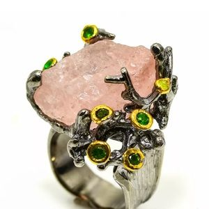 Jewelry - New! Raw Morganite & Sterling Silver Ring